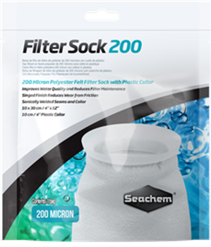 Filter Sock 200 Micron Welded- 4x 12  Sock - Filter socks are a critical component in maintaining water quality in aquariums. They remove suspended debris and detritus, which often lead to excess dissolved organics, nitrate, and phosphate when left unchecked. This makes Seachem Filter Socks an integral addition to any sump and overflow system.  In addition to a 200 micron rating for exceptional particulate removal, they feature welded seams, which, unlike threaded seams of similar products, will not breakdown over time. They have a singed finish, which reduces wear and prevents release of fibers back into the water column.