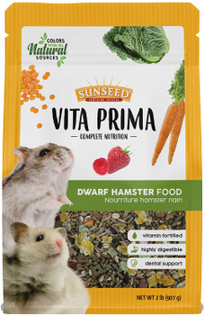 As part of the family, a good quality diet is just as important for your pet as it is for the rest of the household. That's why we created Vita Prima Dwarf Hamster Food to have all the essentials for your pet to live a happy and healthy life. With vitamin-fortified pellets and a blend of wholesome grains, vegetables, and fruits, Vita Prima has all the nutrients dwarf hamsters need, natural flavors they want, and the variety to inspire their natural foraging instincts.
