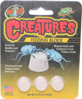 Zoo Med #;s Creatures Feeding Block. Mineral block with Creatures Food Pellets inside, enrichment and supplemental feed item. Great for Beetles and Roaches.