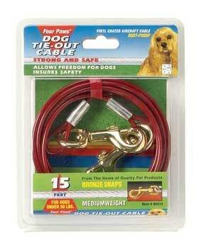 Four Paws Medium Weight Tie Out Cable Red 20ft