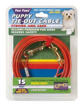 Four Paws Puppy Tie Out Cable Orange 15ft
