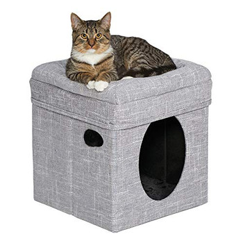 The Curious Cat Cube features a sophisticated and stylish print - a fun cat hide-out and a cozy - bolstered top.