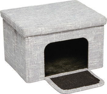 The Midwest Cat Cottage is a comfy hideaway and cozy retreat with designer fabric and a plush interior. It includes a sturdy rooftop lounge and a paw pleasing sisal fabric entryway.
