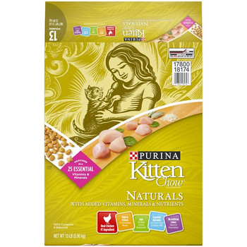 Kitten Chow Naturals Dry Cat Food, 13-lb bag; Give your growing kitten the beneficial nutrition she needs by filling her bowl with Kitten Chow's Naturals Dry Cat Food. Made with real chicken as the very first ingredient and essential nutrients like those found in mother?s milk, this kitten kibble offers your little one a 100% complete and balanced diet. It?s crafted with high-quality, natural ingredients and features all 25 essential vitamins and minerals to support her overall health and well-being. This protein-packed recipe also contains DHA, an omega-3 fatty acid, that helps support her brain and vision development. And with no artificial colors, flavors or preservatives, you can feel good feeding your kitten this purr-worthy meal. Never Run Out with Autoship - Easy Repeat Deliveries.