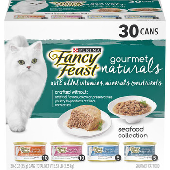 Fancy Feast Natural Wet Cat Food Variety Pack; Gourmet Naturals Seafood 30/3oz