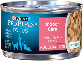 Pro Plan Indoor Cat Formula Salmon & Rice Entree Cat 24/3oz