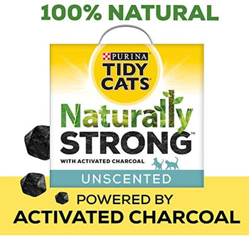 Lock away litter box odors in your multiple cat home with Purina Tidy Cats Naturally Strong clumping cat litter. This formula contains activated charcoal that traps odor molecules, delivering powerful natural odor control. In fact, activated charcoal controls odor better than baking soda by volume. The superabsorbent clay granules lock away moisture to help keep your cats' litter box dry and comfortable. Clay also promotes naturally tight clumping for effortless litter box scooping. Tidy Cats unscented clumping litter is naturally free of dyes and fragrances, making it a great choice for pet parents who are sensitive to scents. This litter is also 99.9% dust free to give you a clean and easy pour. Put the trusted power of Tidy Cats on your side with Naturally Strong unscented clumping cat litter. It's 100% Natural. 100% Powerful.