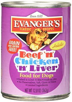 Evanger's Heritage Classic Beef Chicken & Liver Can Dog Food 12ea/12.6oz