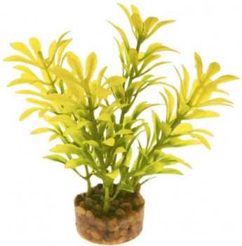 Brilliantly colored, this gravel base plant anchors nicely, with soft plastic leaves   branches that are sturdy enough to stand up on their own, but soft enough to sway in the water. Safe for fresh or salt water.