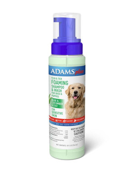 Adams Plus Flea & Tick Foaming Shampoo Cucumber Aloe Sensitive Skin 10oz