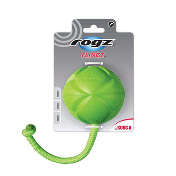 ROGZ by KONG Flingz Ball With Rope Dog Toy Large