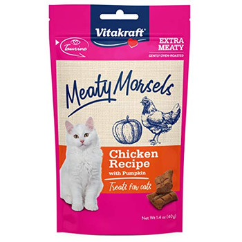 Cats love the size, texture and high meat content of these soft and tasty, double-meaty treats!  Meaty Morsels are made specifically with cats in mind with an enticing smell and the right consistency for chewing.  These are incredibly fresh and soft, due to small production batches that are gently oven-roasted using premium ingredients.  Plus, the small package size ensures that the high quality lasts and allows for pet parents to sample different flavors without a large bag commitment.