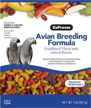 Balanced nutrition for health and reproduction in breeding birds. Proper balance of nutrients helps keep breeding stock healthy and productive. Less waste and labor than feeding fruits, vegetables and seed.