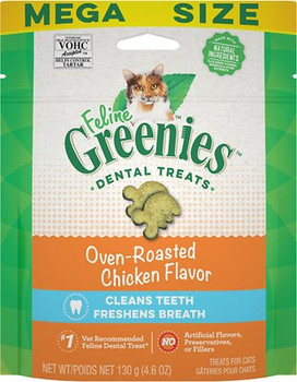 FELINE GREENIES Oven Roasted Chicken Flavor Dental Cat Treats were designed to help keep your cat's mouth clean and healthy. With their unique shape and crunchy texture, these treats are proven to clean teeth and reduce tartar. Plus, these irresistible little cat chews also work to freshen cat breath, letting you both enjoy cuddle time even more. But because these natural cat treats have added vitamins, minerals, and taurine, they do more than just offer cat teeth careƒ?? they offer complete, tasty nutrition, too. As the #1 vet-recommended feline dental treat,* FELINE GREENIES are the healthy, low-calorie cat teeth cleaning treats you've been looking for.