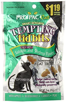 PRO PAC ?? Tempting Tidbitsƒ?› Crunchy Salmon   Shrimp Flavor Superpremium cat treats are a delicious and healthy supplement to your cat's diet. <ul style=padding-left:5px>  Fresh-from-the-sea flavors of salmon and shrimp  Apples, blueberries, carrots an