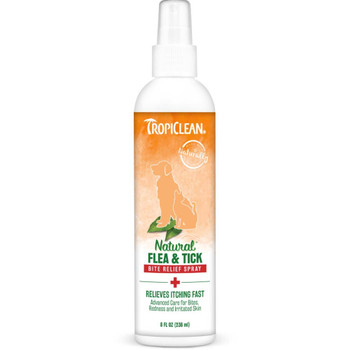 TropiClean Natural* Flea & Tick Bite Relief Spray for Dogs and Cats, 8oz