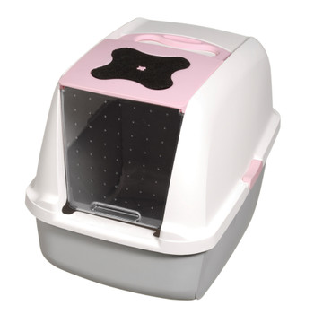 Catit Hooded Cat Litter Pan, White/Pink