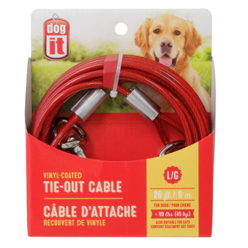 Dogit Tie-Out Cable, Large, 20', Red