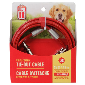 Dogit Tie-Out Cable, Large, 25', Red