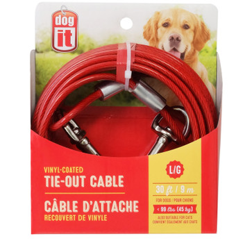 Dogit Tie-Out Cable, Large, 30', Red