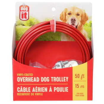 Dogit Overhead Dog Trolley, 50', Red