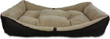 AFP Lambswool Bolster Bed, Brown, 41x26, Large