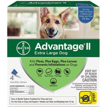 Advantage Ii Dog Extra Large 55+lb Blue 4 Pack