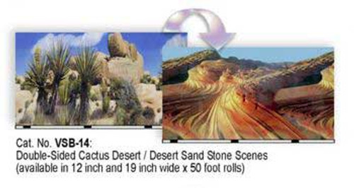 Blue Ribbon Vibran-sea Double Sided Background Cactus And Desert Stone 19x50ft