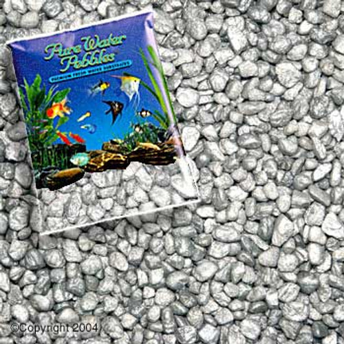 World Wide Imports Pure Water Pebbles Premium Fresh Water Substrates Silver Frost 5lb