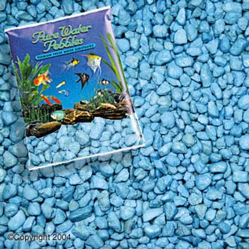 World Wide Imports Pure Water Pebbles Premium Fresh Water Substrates Heavenly Blue 25lb