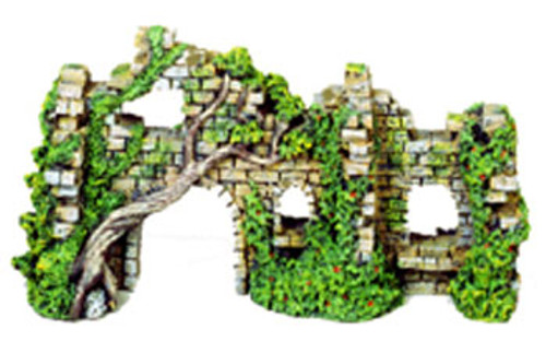 Blue Ribbon Exotic Environments Cobblestone Castle Walls With Ivy 10x3.5x5.5in