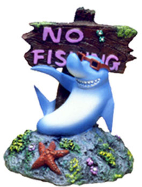 Blue Ribbon Exotic Environments Cool Shark With No Fishing Sign 3x3x3.5in
