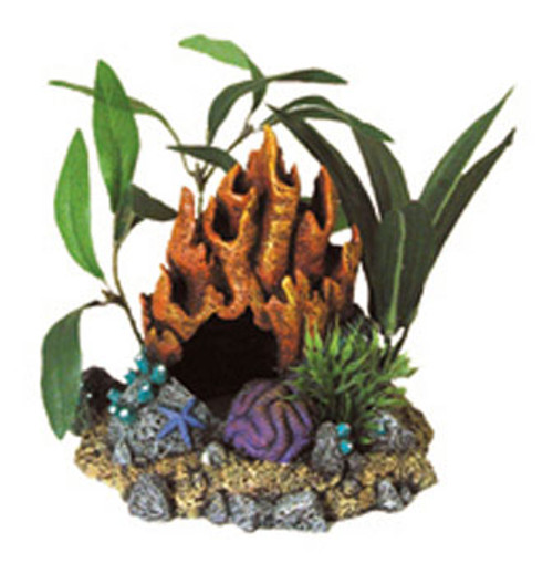 Blue Ribbon Exotic Environments Fire Coral Cave With Plants 5x4.5x4.5in
