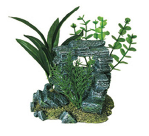Blue Ribbon Exotic Environments Rock Arch With Plants 5.5x4x5.5in