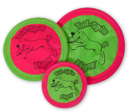 It flies, it floats, it's flexible! The Booda? Tail Spin Flyer is a fun, durable, interactive fetch toy that will keep your dog entertained in and out of the water. This flexible Booda dog toy flies and floats--and even doubles as a water dish when you're on the move. This high-flying toy is soft and gentle on your pet's teeth and gums, and is a safe way to play and exercise with your furry friend! Available in Small Fry, Big Daddy and Medium. Dimensions: 7 X 0.75 X 7