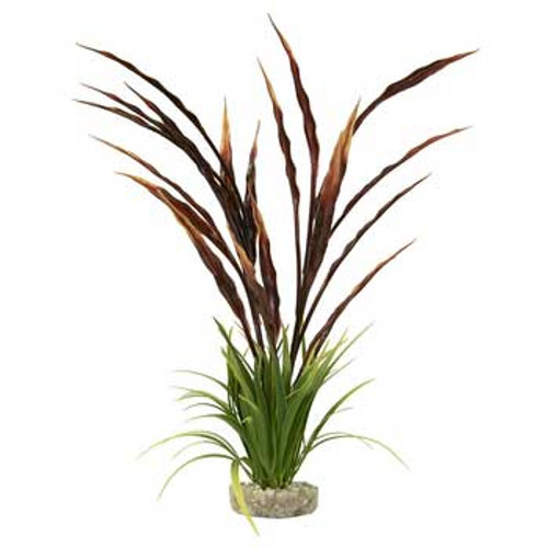 Blue Ribbon Colorburst Florals Gravel Base Atoll Grass Plant Red And Green 15in