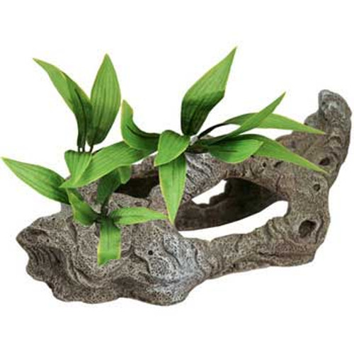 Blue Ribbon Exotic Environments Rock Tunnels With Silk Style Plants 10x5x5in