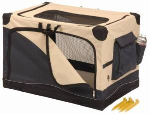 Precision 4000 Soft Side Pet Crate Navy/tan 36x24x23