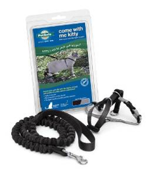 Pet Safe Premier Come With Me Kitty Harness & Bungee Leash Large Black