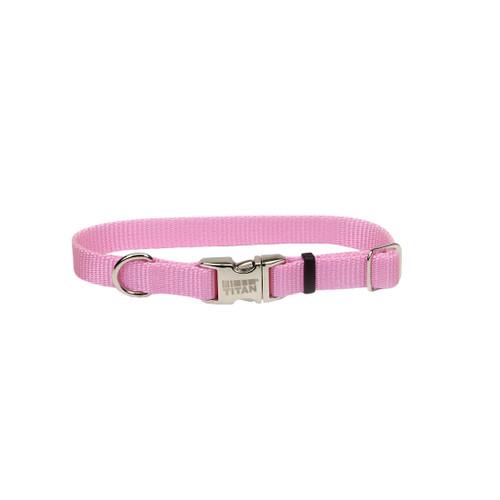 Coastal Adjustable Nylon Collar With Titan Metal Buckle Bright Pink 5/8x14in