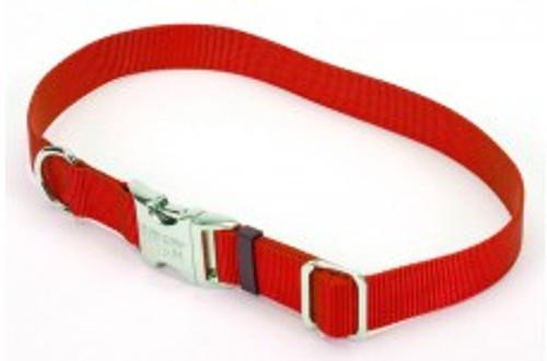 Coastal Adjustable Nylon Collar With Titan Metal Buckle Red 1x14-20in