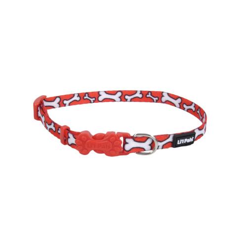 Coastal Li'l Pals Adjustable Patterned Collarlight Red White Bone 5/16x8-12in