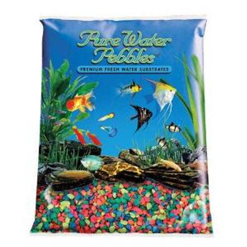 World Wide Imports Pure Water Pebbles Premium Fresh Water Substrates Neon Rainbow 2lb