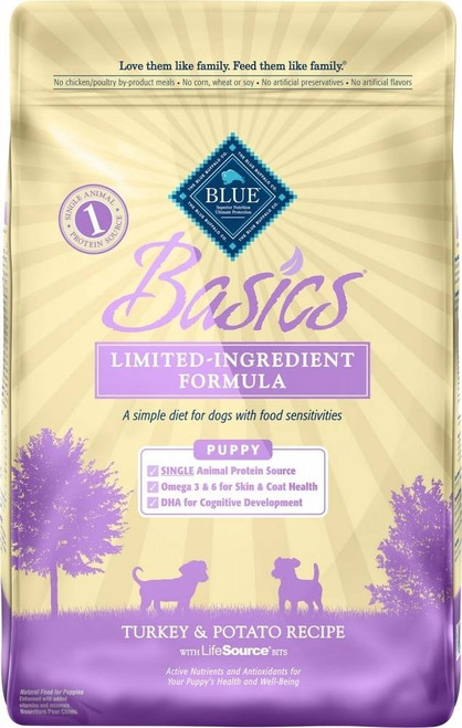 """For puppies that show signs of being sensitive to some of the ingredients used in traditional pet foods, less may be more. BLUE Basics is a healthy, holistic, limited-ingredient diet formulated to minimize food sensitivities while maximizing the nutr"""""""