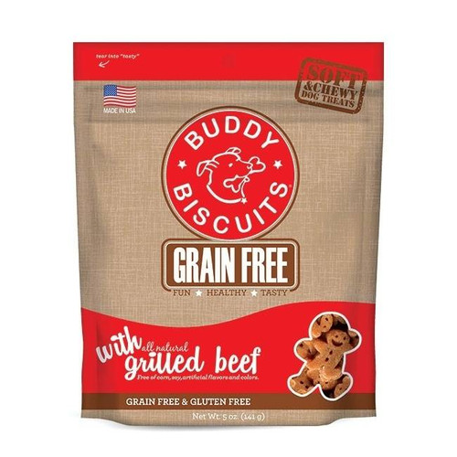 """All of the Taste, None of the Grain! Dogs on a grain free diet crave delicious treats, too. Thats why we created Grain Free Soft & Chewy Buddy Biscuits. These scrumptious morsels are 100% grain free and gluten free, yet packed with mouthwatering"""""""