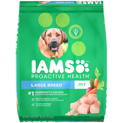 Iams is Veterinarian Recommended Adult 1-5 Years 1st Ingredient is Chicken Healthy Joints Strong Bones Strong Muscles Healthy Metabolism. Concentrated nutrition. 0% fillers. 60 years of nutritional excellence. 100% complete   balanced for maintenance. Kee