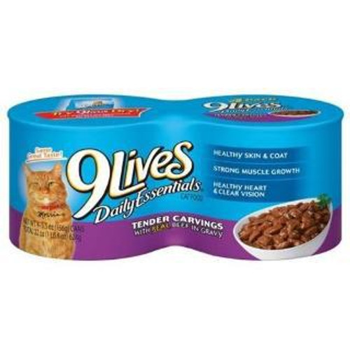JM SMUCKER Delmonte 9 Lives Shredded Beef & Gravy 24/5.5 Oz. Cans
