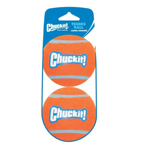 """Chuckit. Tennis Balls are a well-suited compliment to Chuckit. Ball Launchers. Their extra wall thickness and bright two-tone colors make them best in class. This Large Tennis Ball is compatible with the Chuckit. Mega (Large) Ball Launcher."""""""
