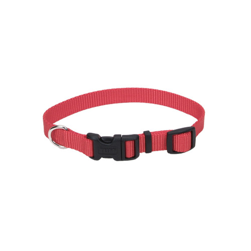 Coastal Adjustable Nylon Collar With Tuff Buckle Red 1x26in