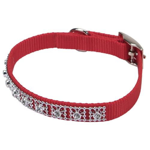 Coastal Nylon Jeweled Collar Red 3/8x10in